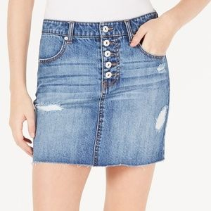 Cotton Button-Fly Denim jeans Mini Skirt